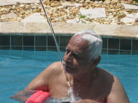 Thatha in the pool